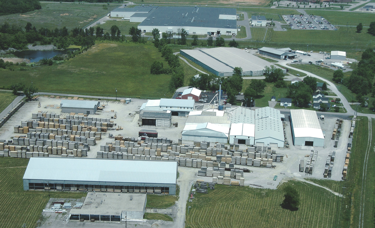 Aerial view of Lebanon Oak Flooring Co.
